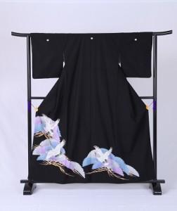【青と紫の松に鶴】